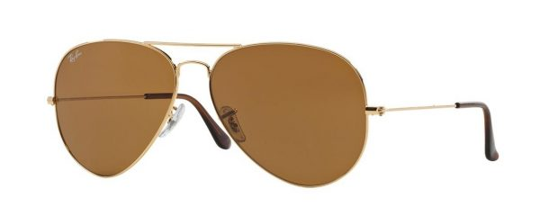 Слънчеви очила Ray-Ban RB3025 001 33 Aviator Gold Brown little left