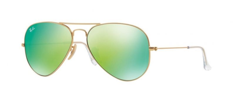 Слънчеви очила Ray-Ban RB3025 112 19 Aviator Gold Green Mirror Little Left